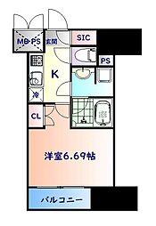 仙台市営南北線 勾当台公園駅 徒歩6分の賃貸マンション 9階1Kの間取り