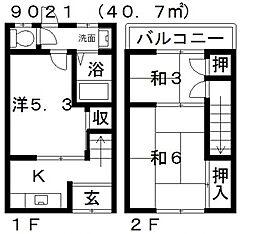 [テラスハウス] 大阪府松原市天美東1丁目 の賃貸【/】の間取り