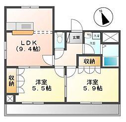 愛知県名古屋市緑区桶狭間上の山の賃貸マンションの間取り