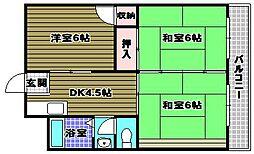 北野田マンション巽B棟[5階]の間取り