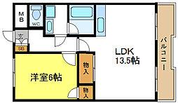 大阪府大阪市平野区背戸口1丁目の賃貸マンションの間取り