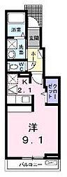 香川県丸亀市土器町東8丁目の賃貸アパートの間取り