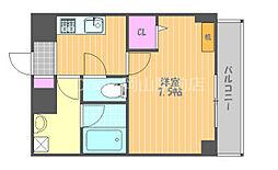 JR宇野線 大元駅 徒歩7分の賃貸マンション 9階1Kの間取り