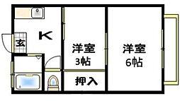 埼玉県吉川市吉川2丁目の賃貸アパートの間取り