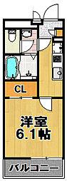 クレイノ梅香[4階]の間取り
