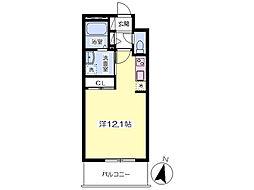 熊本市電A系統 熊本城・市役所前駅 徒歩11分の賃貸マンション 4階ワンルームの間取り