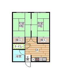 福岡県北九州市小倉北区片野2丁目の賃貸アパートの間取り