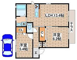 兵庫県神戸市須磨区多井畑字山神の賃貸アパートの間取り