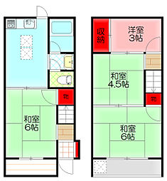 八雲東町2-25-7貸家 1階4DKの間取り