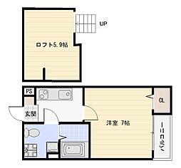 JR関西本線 加美駅 徒歩10分の賃貸アパート 1階1Kの間取り