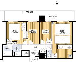 プラウドタワー堺東 16階3LDKの間取り