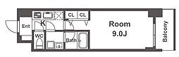 スプランディッド淀屋橋DUE 10階1Kの間取り