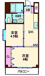 神奈川県横浜市神奈川区白楽の賃貸マンションの間取り