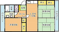 アリエス高須西[4階]の間取り