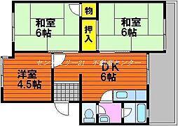 岡山県岡山市東区可知2丁目の賃貸マンションの間取り