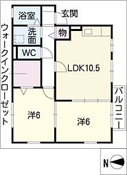 愛知県北名古屋市熊之庄細長の賃貸アパートの間取り