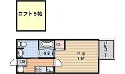 京都府京都市中京区姉大宮町西側の賃貸マンションの間取り