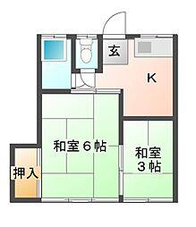 シャトー芝山[1階]の間取り