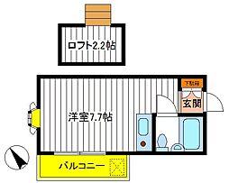 東京都立川市羽衣町3丁目の賃貸アパートの間取り