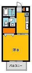 栃木県宇都宮市宮原3丁目の賃貸アパートの間取り