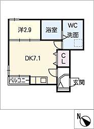 愛知県名古屋市熱田区木之免町の賃貸アパートの間取り