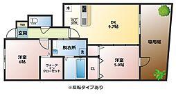 大阪府八尾市東山本町9丁目の賃貸アパートの間取り