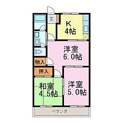 愛知県半田市宮本町6丁目の賃貸アパートの間取り
