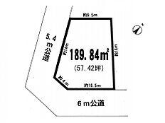 区画図です。敷地面積は約57坪ございます。