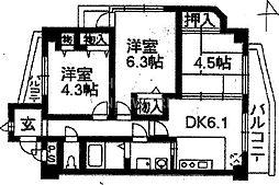 コスモ御池通[216号室号室]の間取り