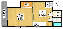TOHOハイツ南七松[505号室]の間取り