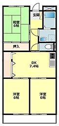 愛知県岡崎市北野町字西野山の賃貸マンションの間取り