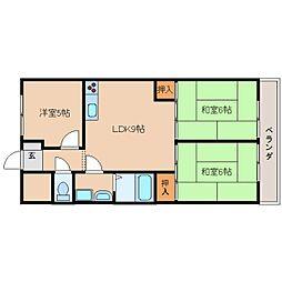 JR桜井線 長柄駅 徒歩15分の賃貸マンション 4階3LDKの間取り