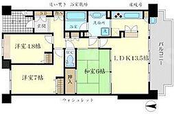 新千里桜ヶ丘メゾンシティ四番館[13階]の間取り
