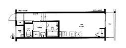 JR津山線 法界院駅 徒歩8分の賃貸アパート 2階ワンルームの間取り