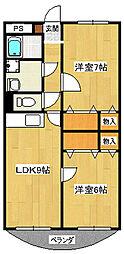 メイプルガーデンB[2階]の間取り