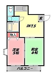 ケイプラザ金田 6階2DKの間取り