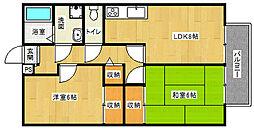 京都府京都市上京区七番町の賃貸アパートの間取り