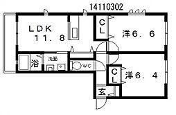 シャーメゾン東田辺[1階]の間取り