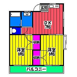 喜峰ハイツⅡ[2階]の間取り