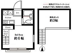 ハーミットクラブハウス峰岡A棟 横浜国立大学 徒歩15分[203号室]の間取り