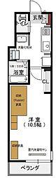 エヌズハウス東橋本 2階1Kの間取り