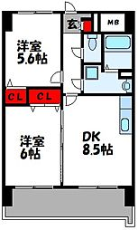 福岡県古賀市天神5丁目の賃貸マンションの間取り