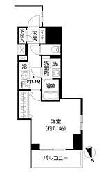 都営大江戸線 牛込柳町駅 徒歩4分の賃貸マンション 8階1Kの間取り