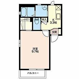JR篠ノ井線 村井駅 徒歩31分の賃貸アパート 2階1Kの間取り