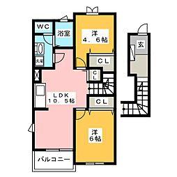 ドミール柏原[2階]の間取り