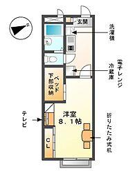 愛知県海部郡大治町大字三本木字堅田の賃貸アパートの間取り