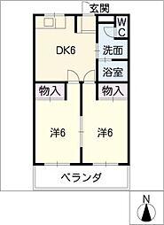 パークサイド中原A棟[2階]の間取り