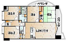 福岡県北九州市若松区修多羅2丁目の賃貸マンションの間取り