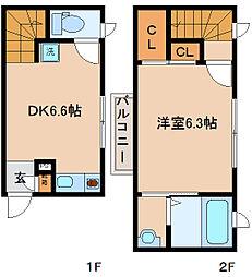 兵庫県神戸市兵庫区梅元町1丁目の賃貸アパートの間取り