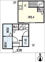 K's I 2階ワンルームの間取り